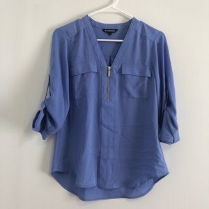 Express periwinkle blue portofino zipper blouse xs